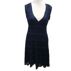 Max Studio Size L Dress Navy Blue Midi Lace Casual
